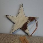 Koeienhuid ster, landelijke decoratie, kersthanger